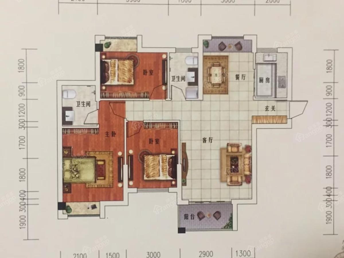 湘荆国际城3室2厅2卫户型图