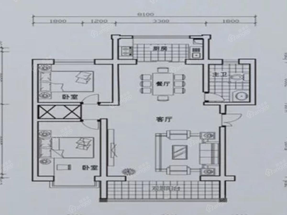 丽园·都市丽景2室2厅1卫户型图