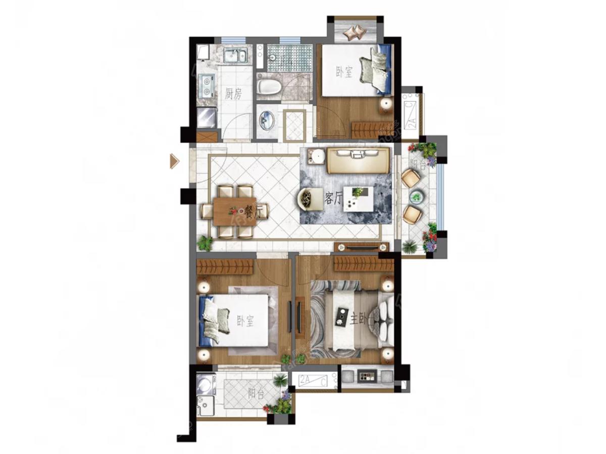 世茂云境3室2厅1卫户型图