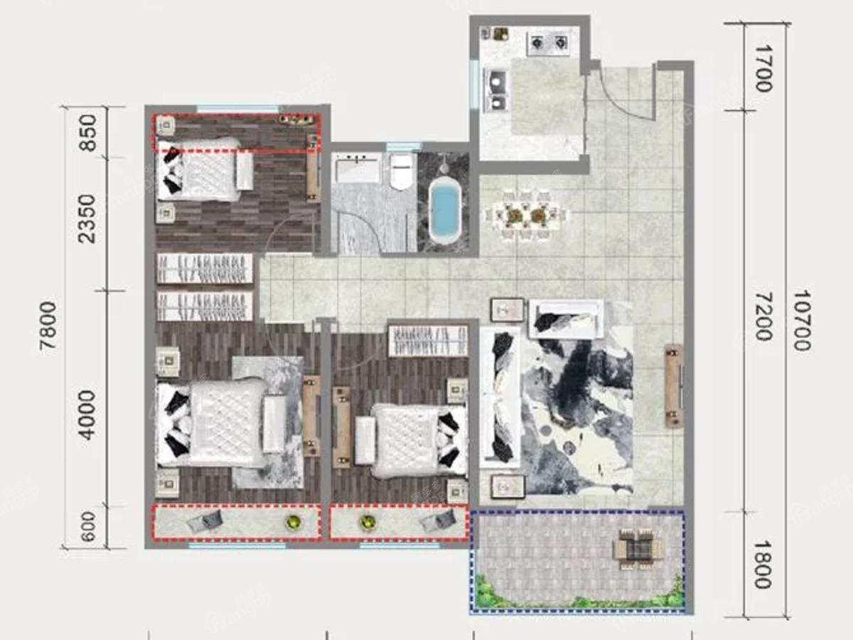 中梁国宾府3室2厅1卫户型图