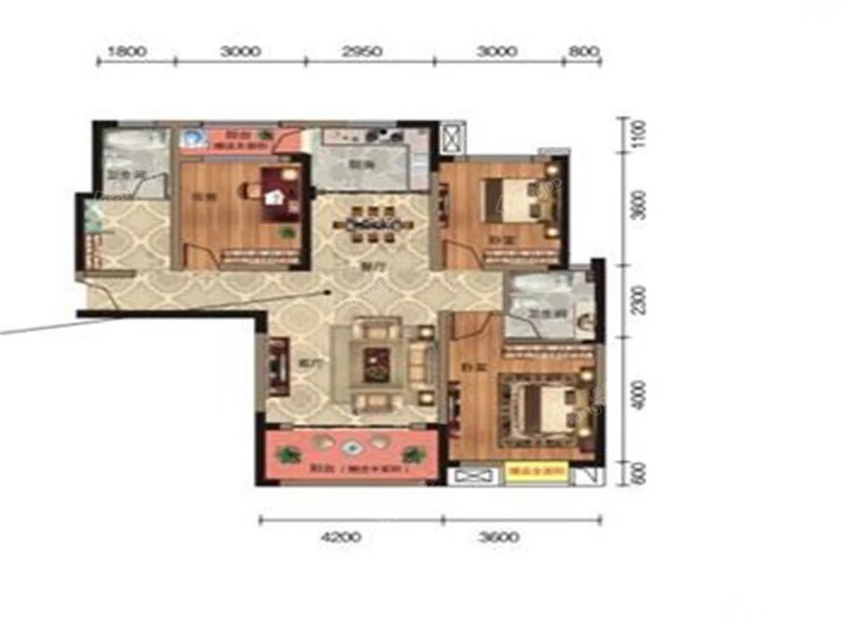永丰财富家园3室2厅1卫户型图