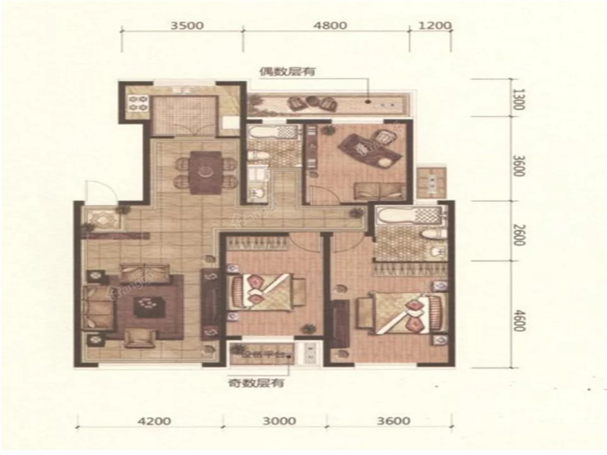欧洲城3室2厅2卫户型图