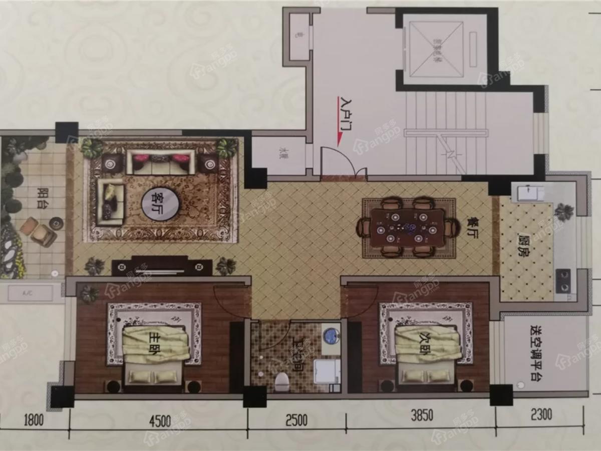 银奥佳园2室2厅1卫户型图