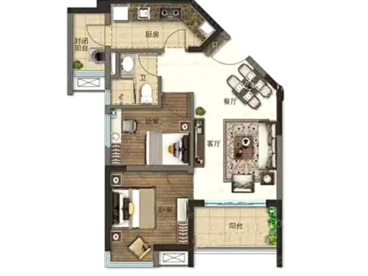 宁德碧桂园天悦湾2室2厅1卫户型图