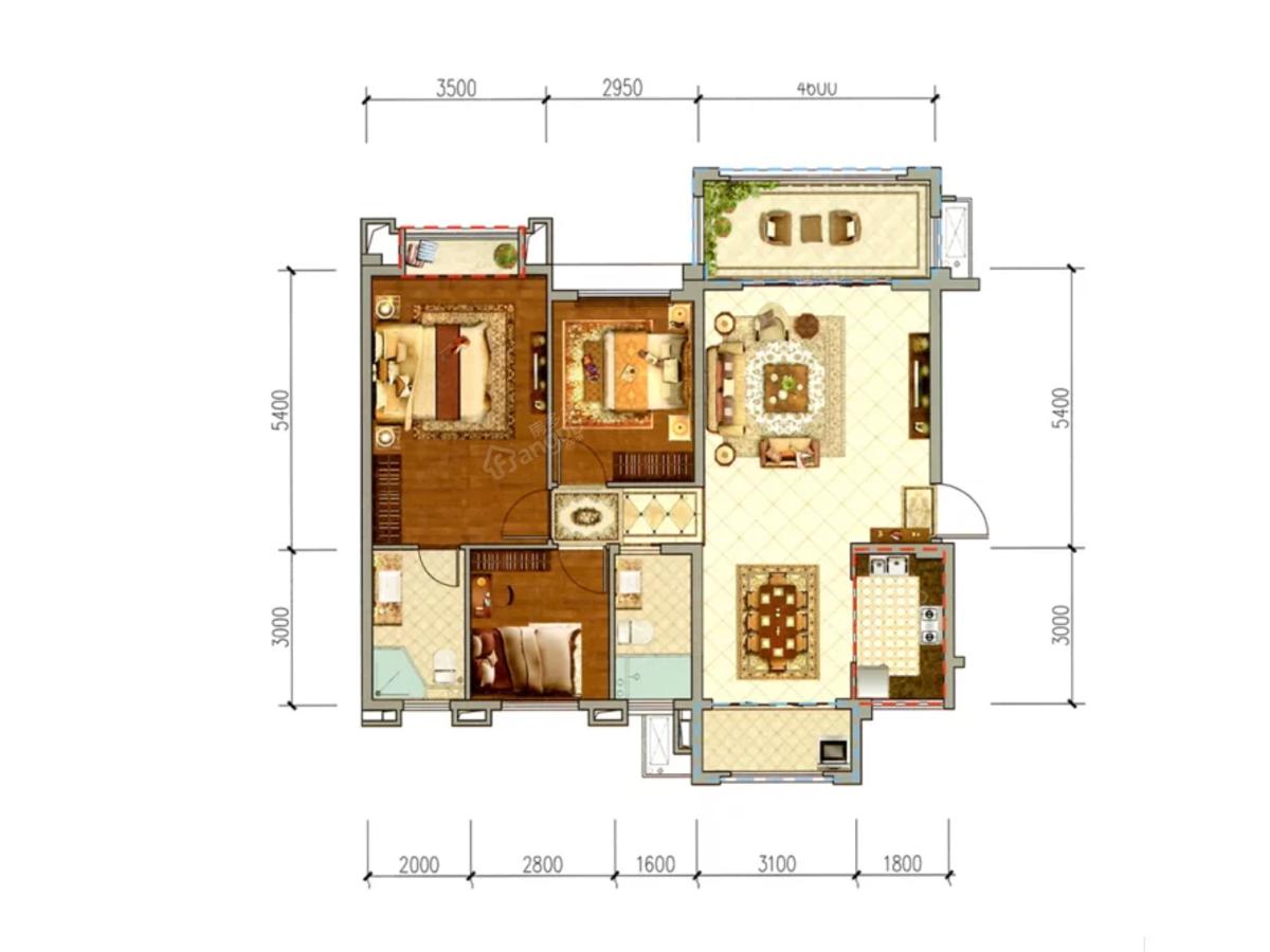 鸿通翡翠滨江3室2厅2卫户型图