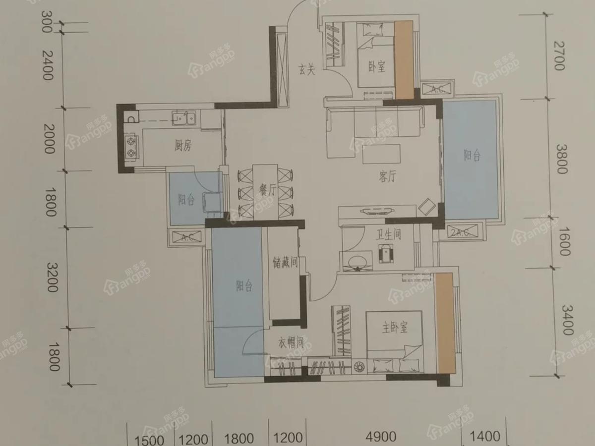 邦泰白沙鹭岛3室2厅2卫户型图