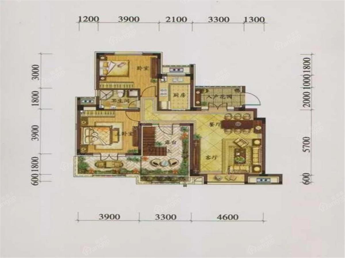 鞍山港中旅汤泉公馆2室2厅1卫户型图