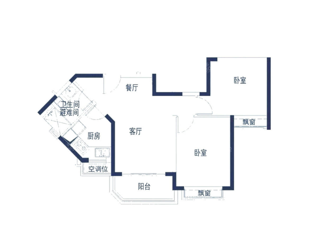 恒大帝景2室2厅1卫户型图
