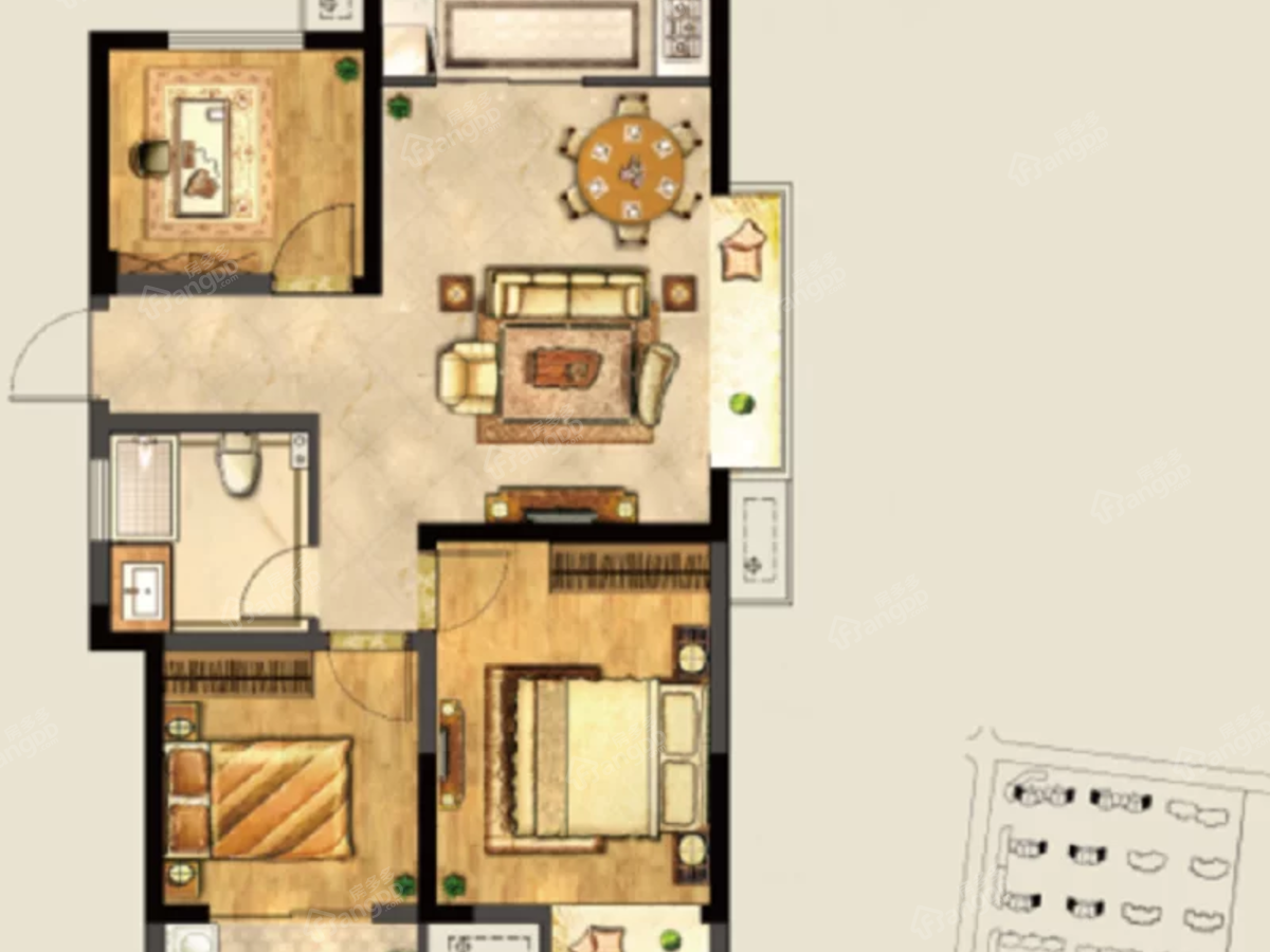 明天城市广场3室2厅1卫户型图