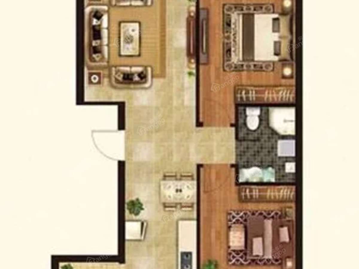 瑞达锦华公馆2室2厅1卫户型图