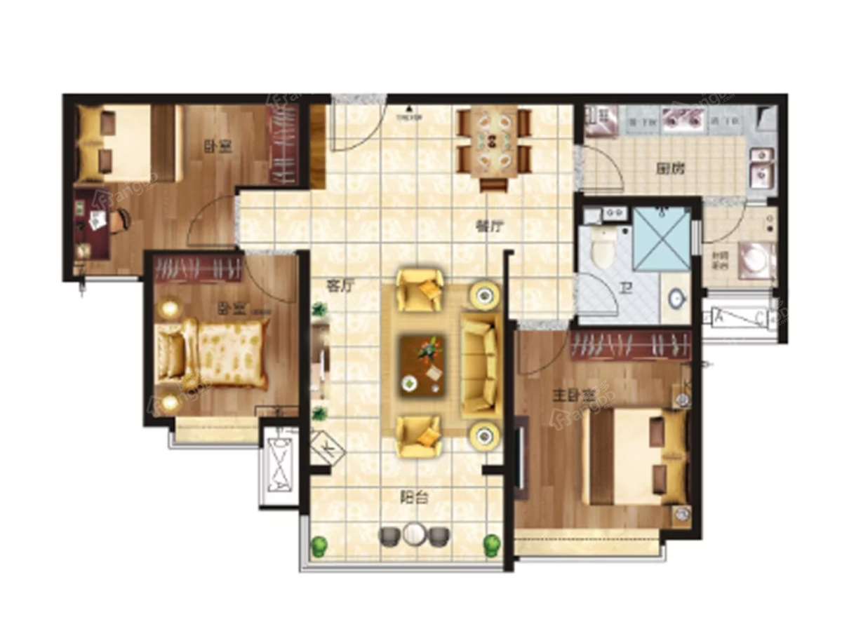 恒大雅苑3室2厅1卫户型图