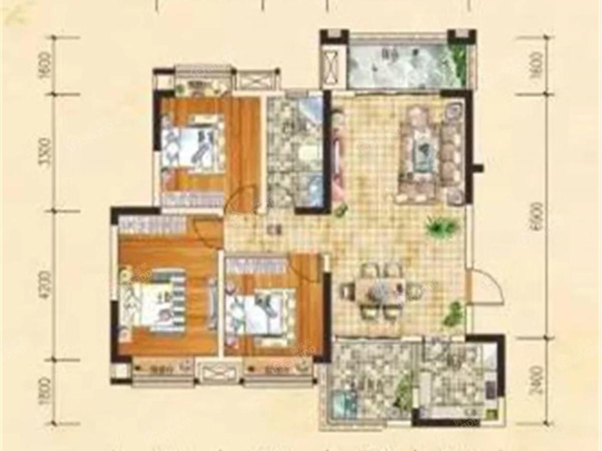 平昌龙锦湾二期滟澜枫景3室2厅1卫户型图
