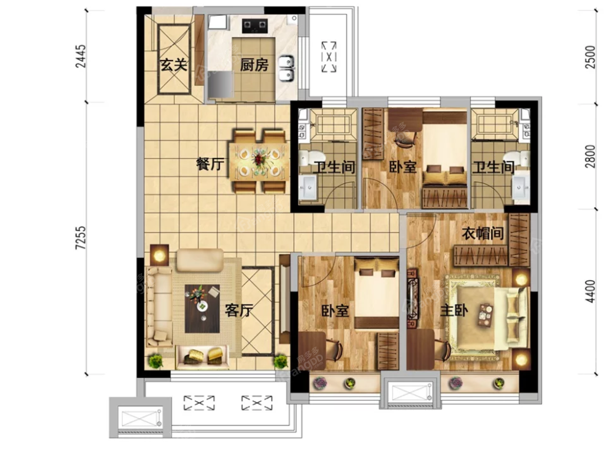 本溪碧桂园·溪山云著3室2厅2卫户型图