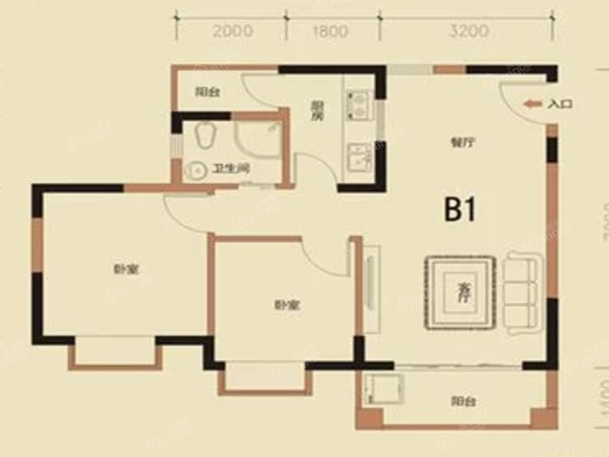 光大广场2室2厅1卫户型图