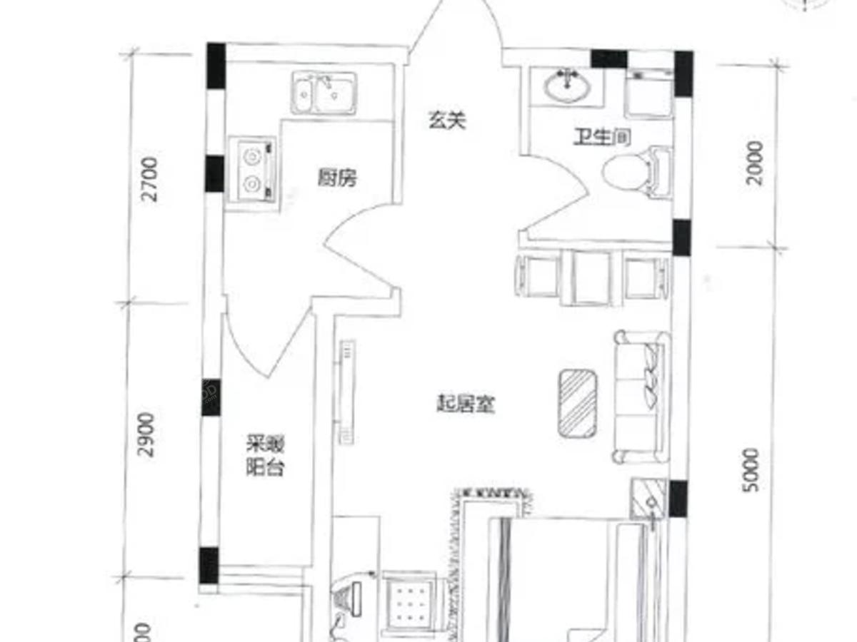 学伟鑫城1室1厅1卫户型图