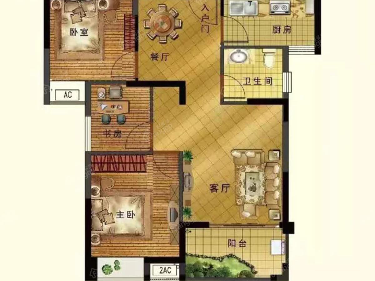西江悦3室2厅1卫户型图