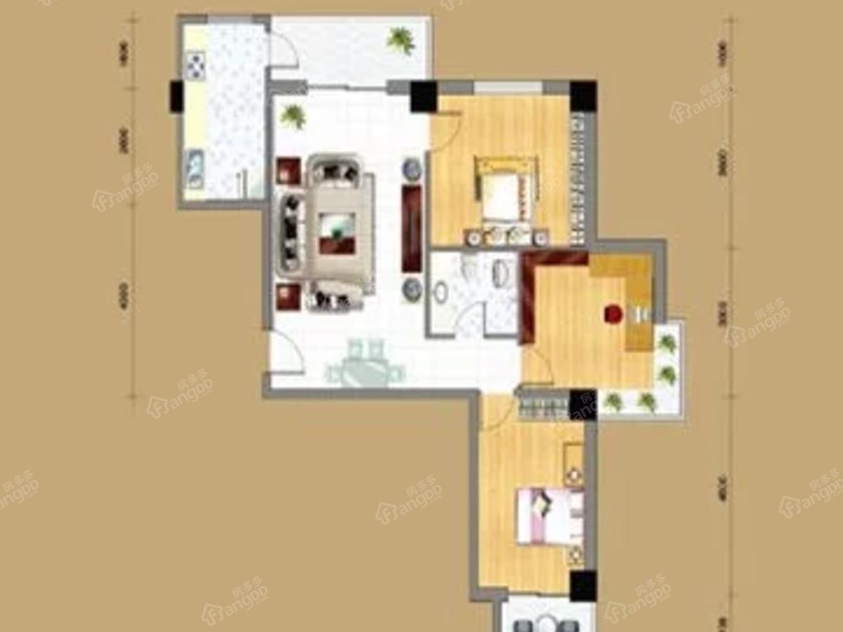 渭源中心3室2厅1卫户型图