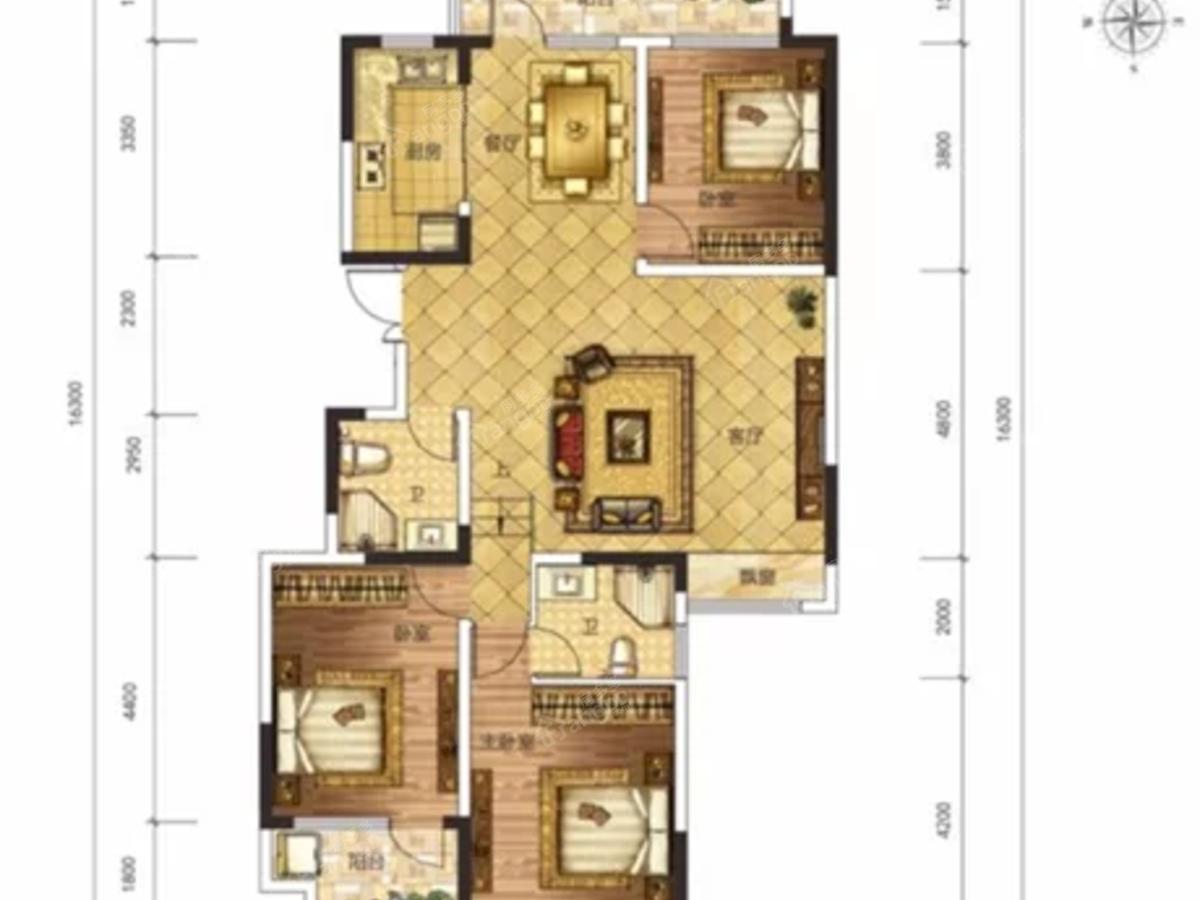 荣盛华府3室2厅2卫户型图