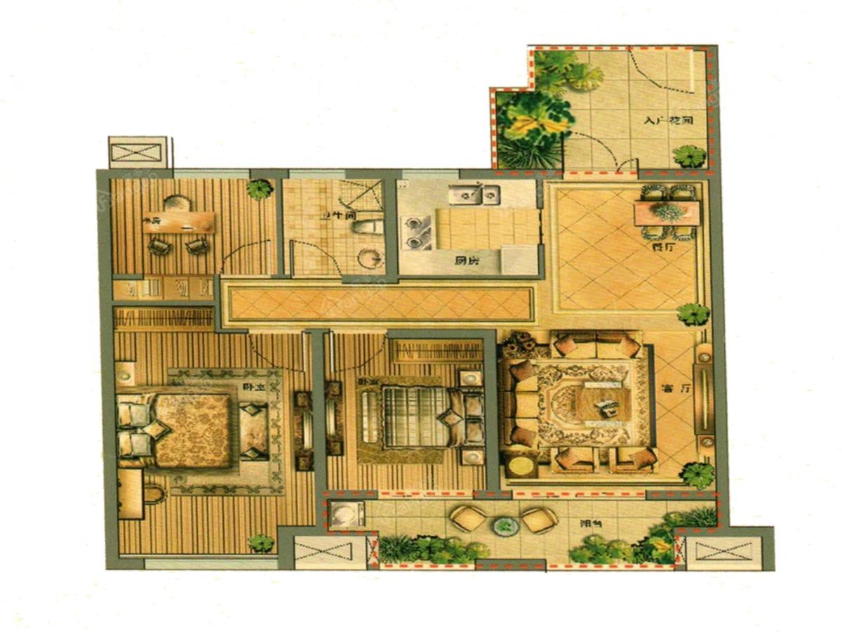 金圆幸福城3室2厅1卫户型图