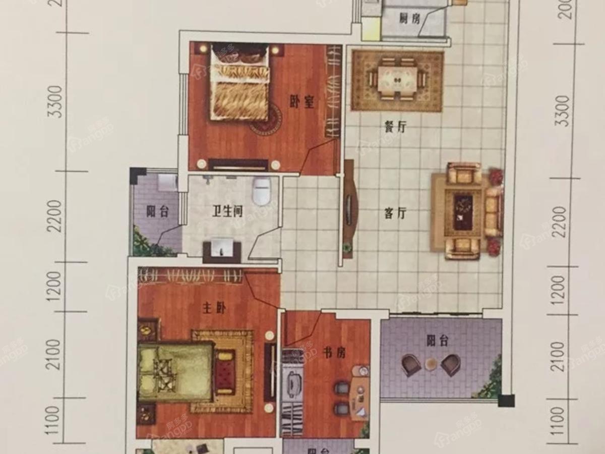 湘荆国际城3室2厅1卫户型图