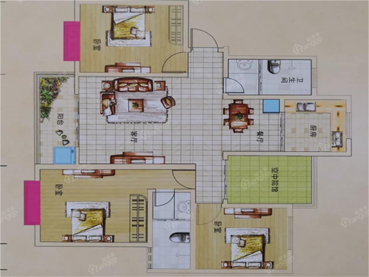 龙熙臻品3室2厅2卫户型图