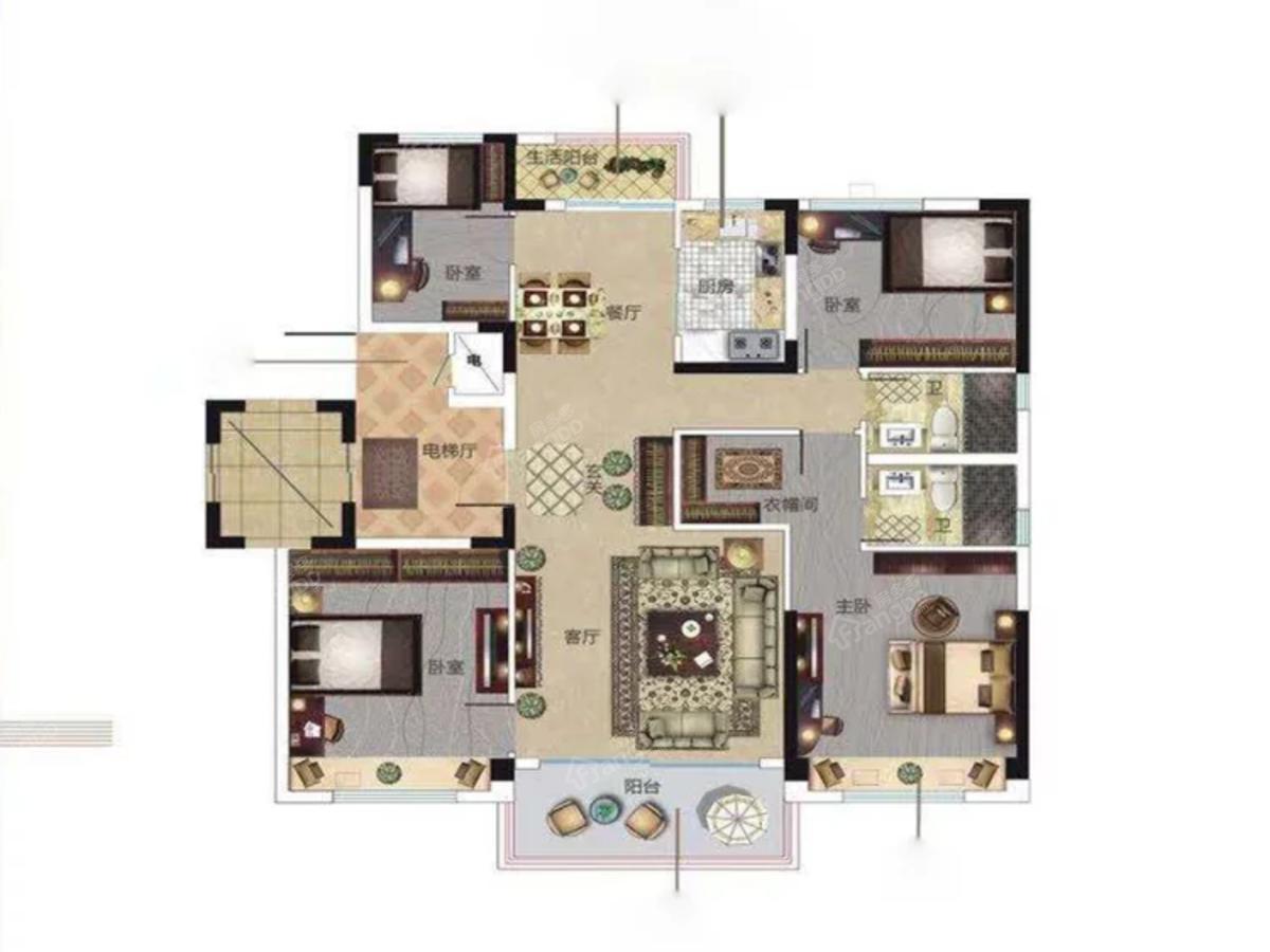 碧桂园·樾府4室2厅2卫户型图