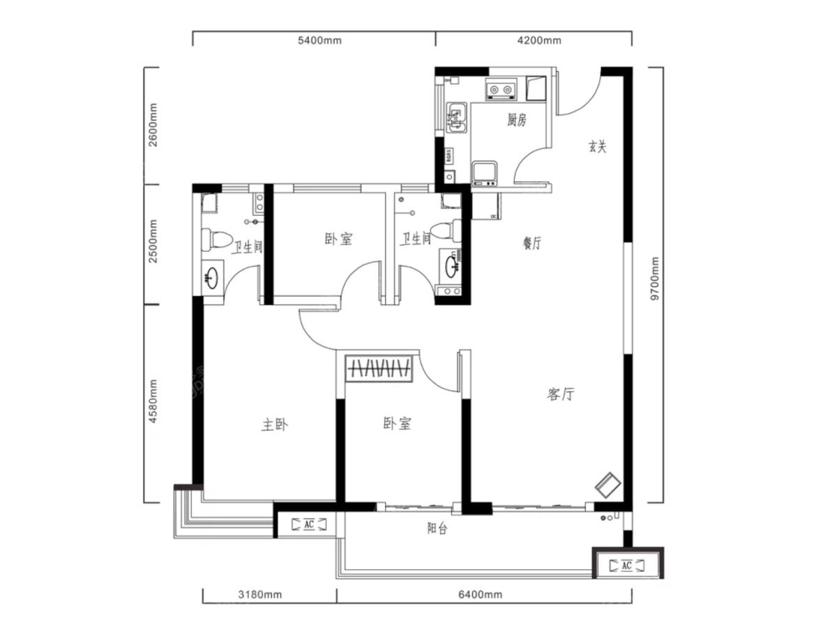 林凯城3室2厅2卫户型图
