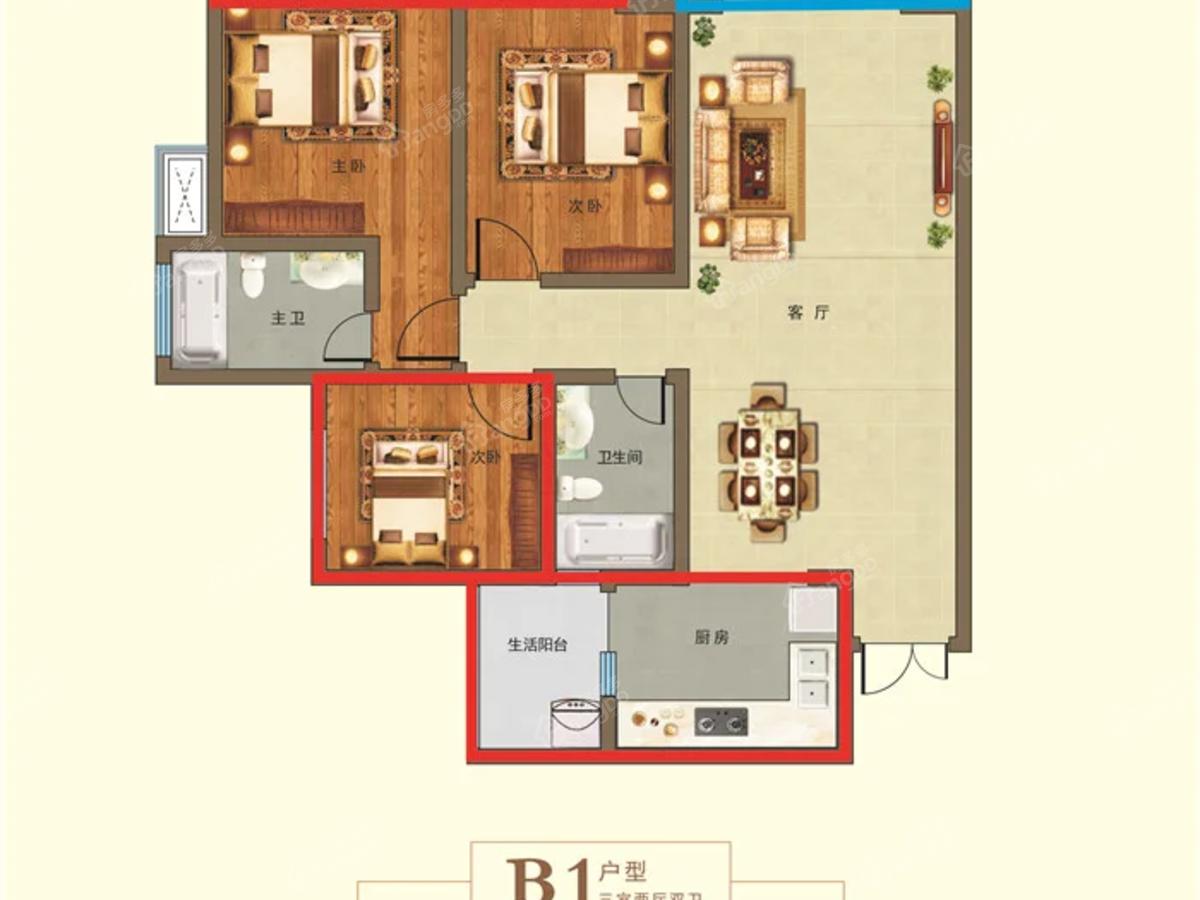 好时尚广场3室2厅2卫户型图
