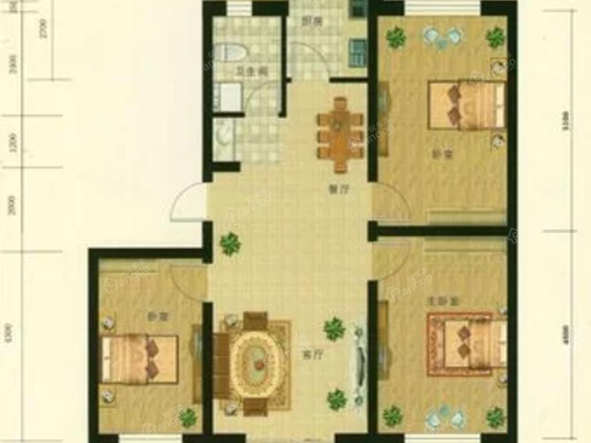 香逸四季3室2厅1卫户型图