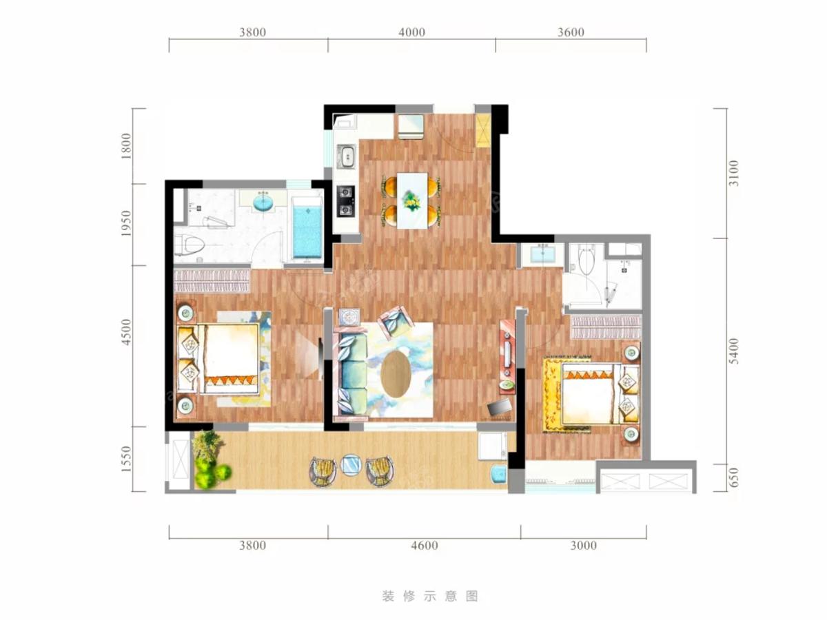 黑龙滩长岛国际旅游度假区2室2厅2卫户型图