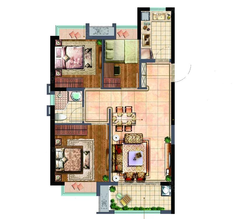 世茂·璀璨悦宸3室2厅1卫户型图