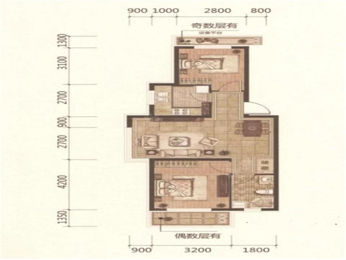 欧洲城2室2厅1卫户型图