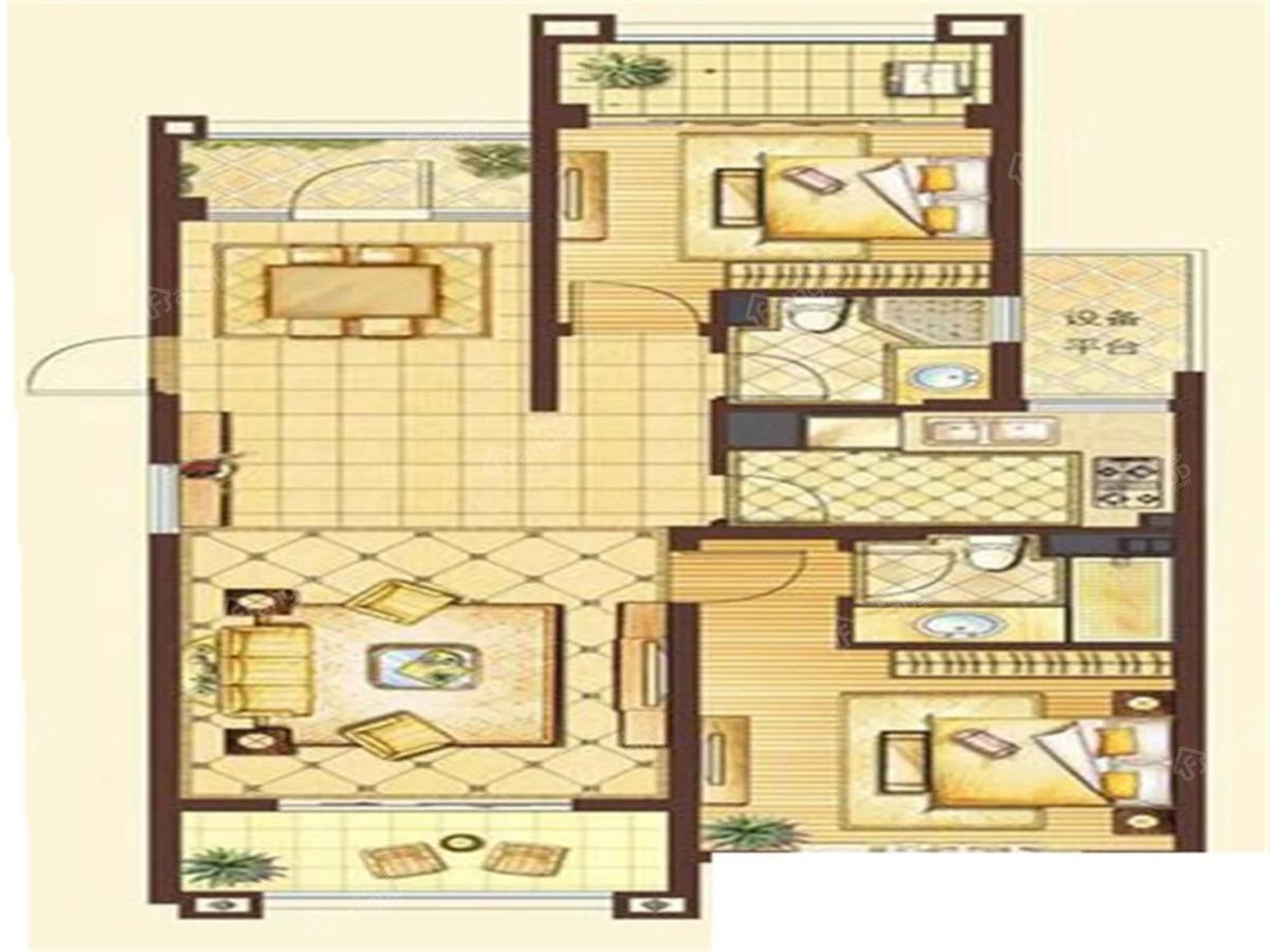 欧洲皇家花园小区3室2厅2卫户型图