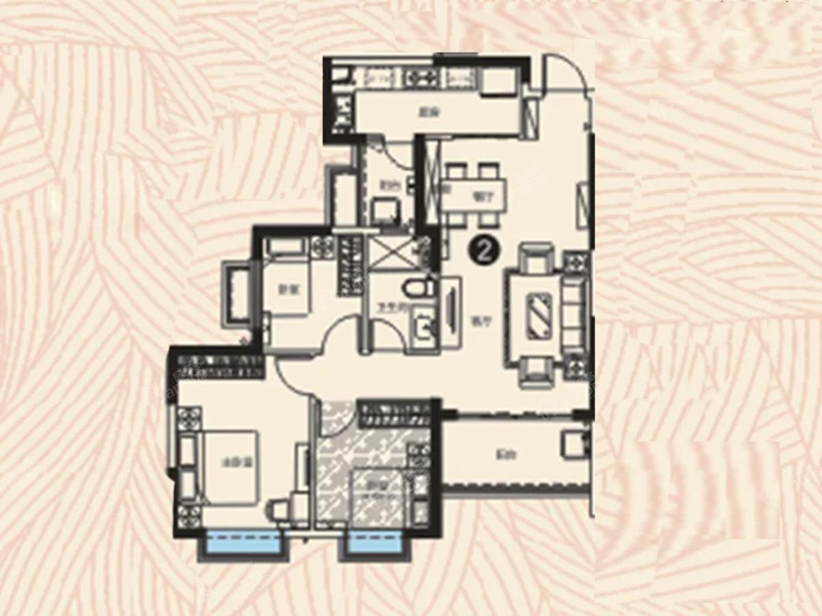 邵阳恒大华府3室2厅1卫户型图