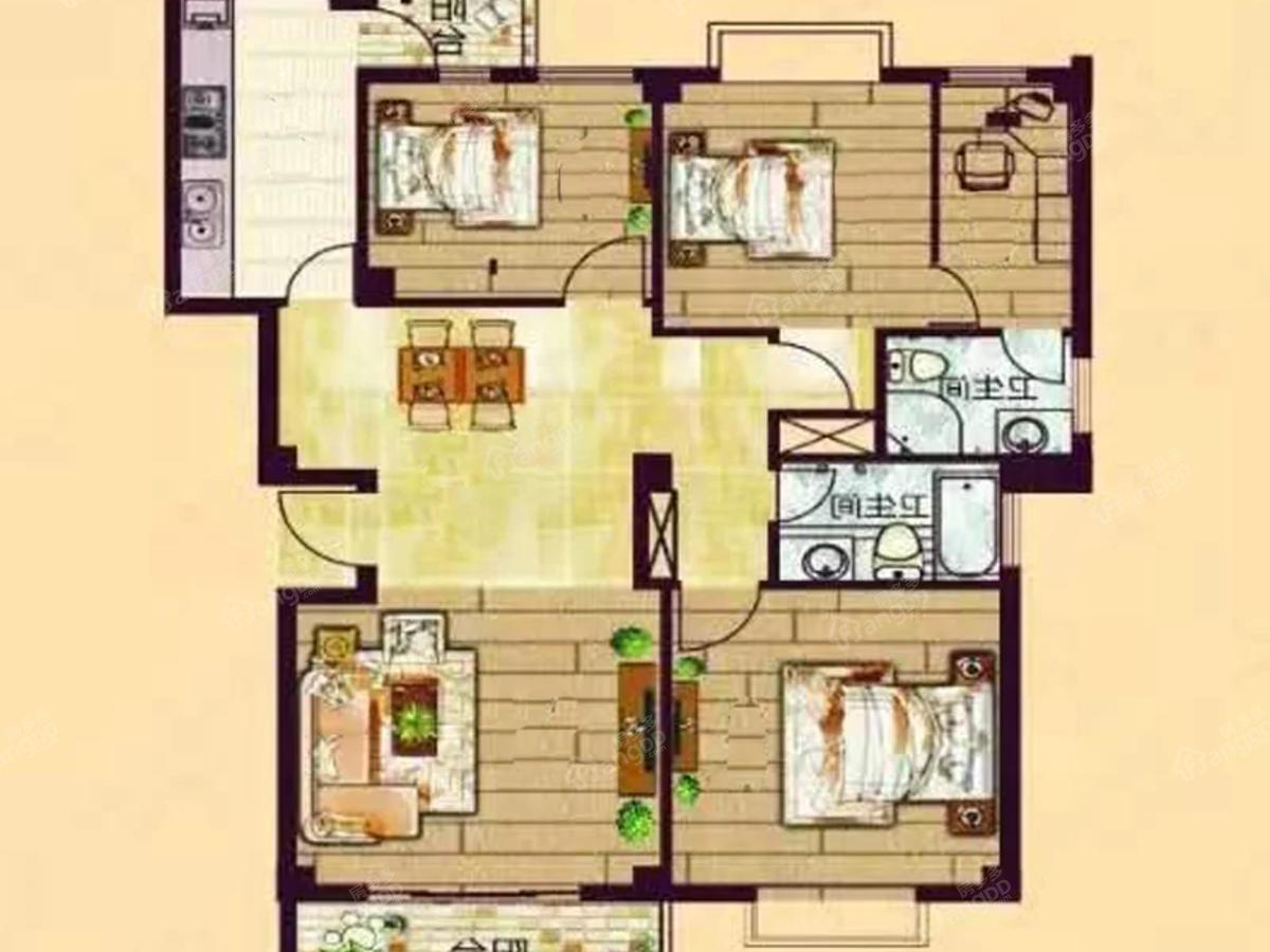 东源翰林华府3室2厅2卫户型图