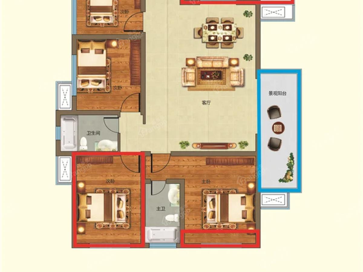 好时尚广场4室2厅2卫户型图