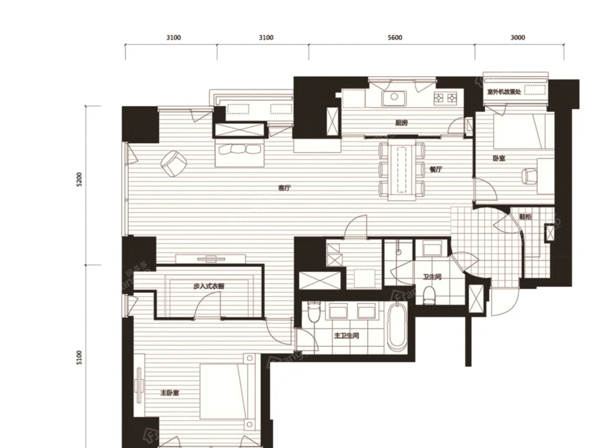 积水裕沁府2室2厅2卫户型图