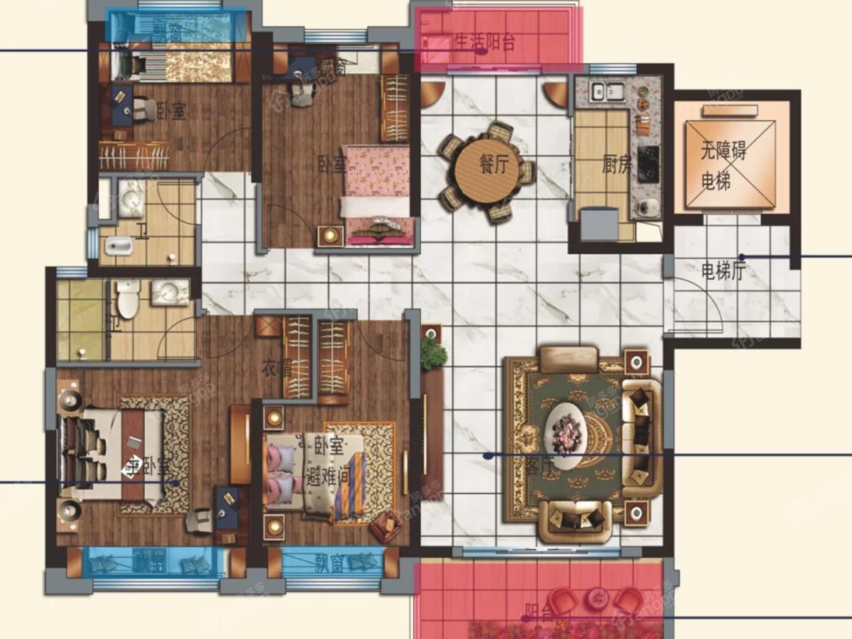 邵阳碧桂园4室2厅2卫户型图