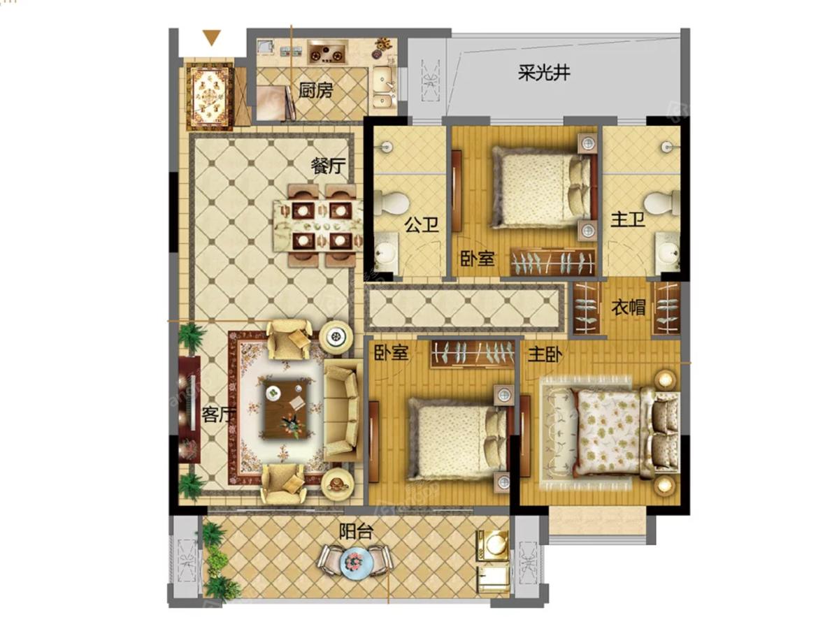 长乐世茂璀璨滨江3室2厅2卫户型图