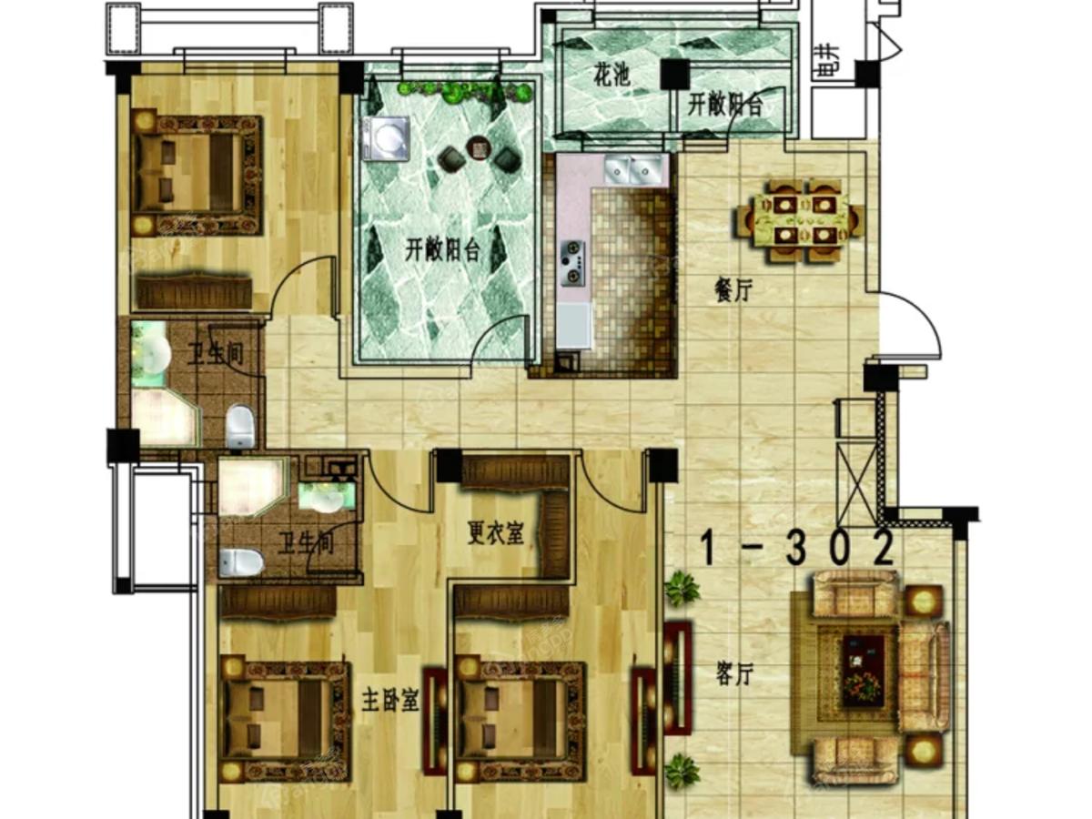 恒大御景湾3室2厅2卫户型图