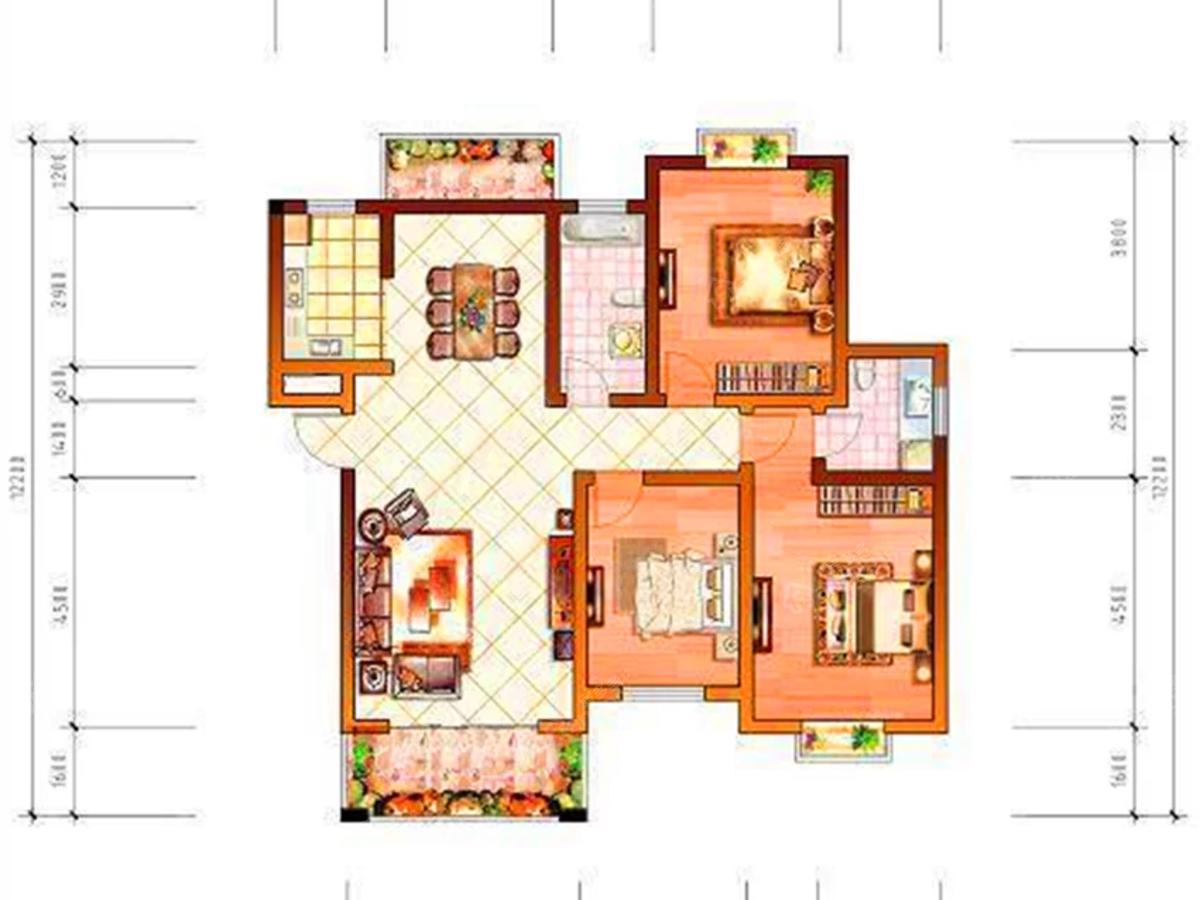 怡和源天悦城3室2厅2卫户型图