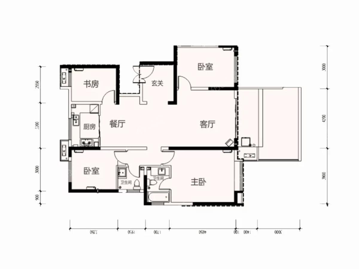 林凯城4室2厅2卫户型图