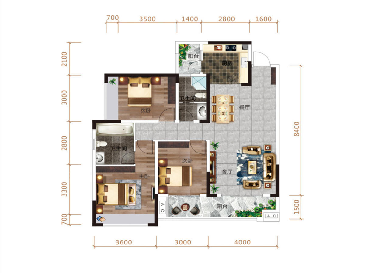 清鸥·教育天地3室2厅2卫户型图