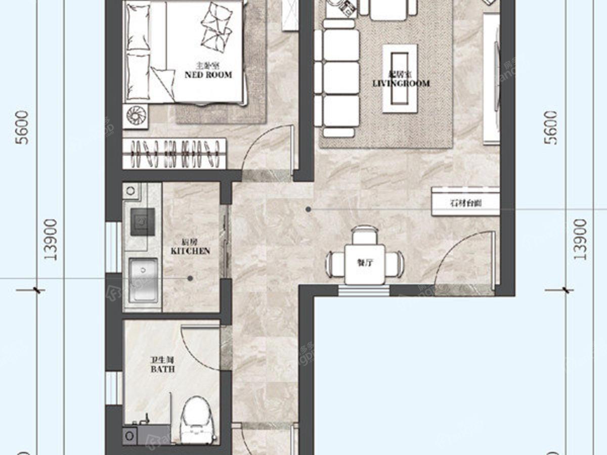 荣盛山湖海2室2厅1卫户型图