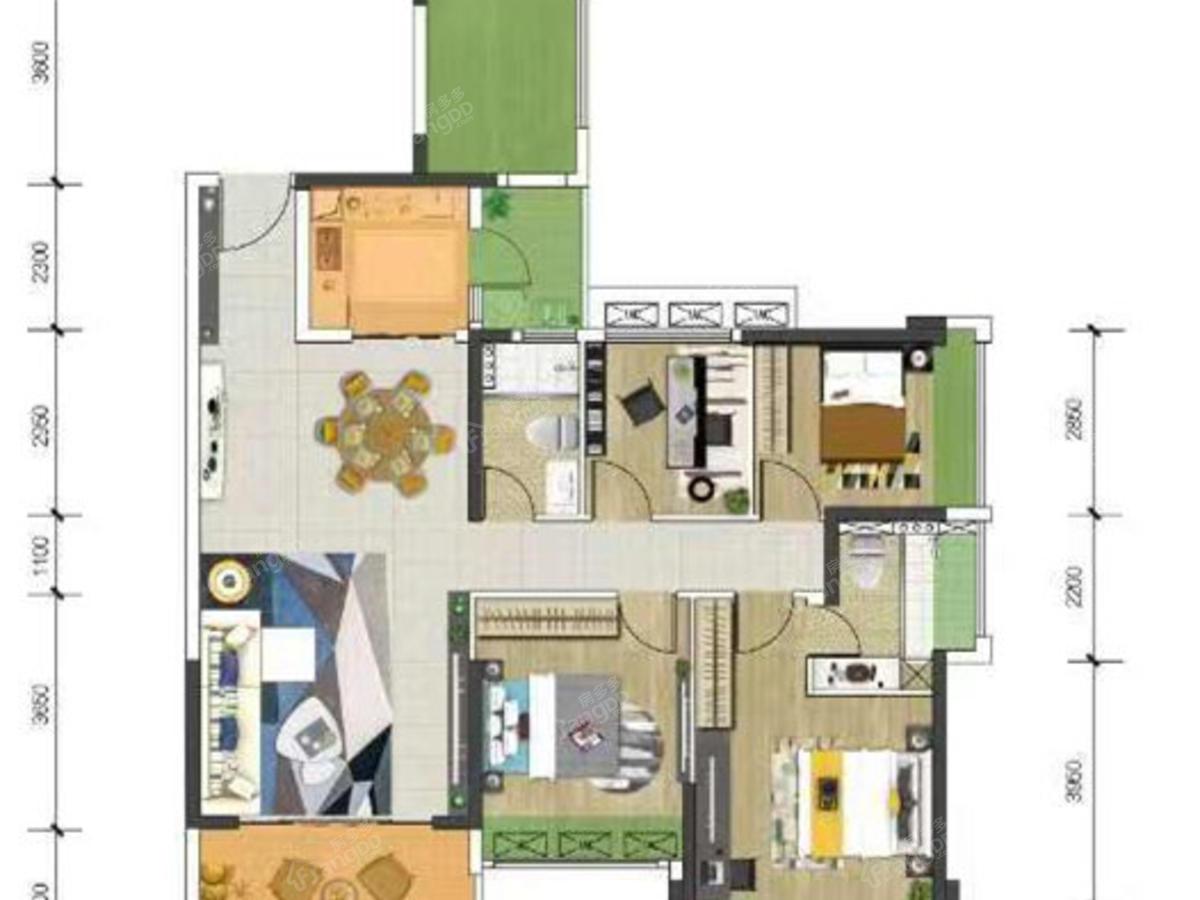 城市印象花园4室2厅2卫户型图