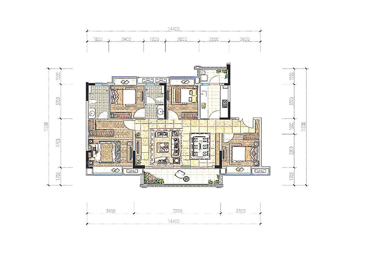 蓝光·雍锦府4室2厅2卫户型图