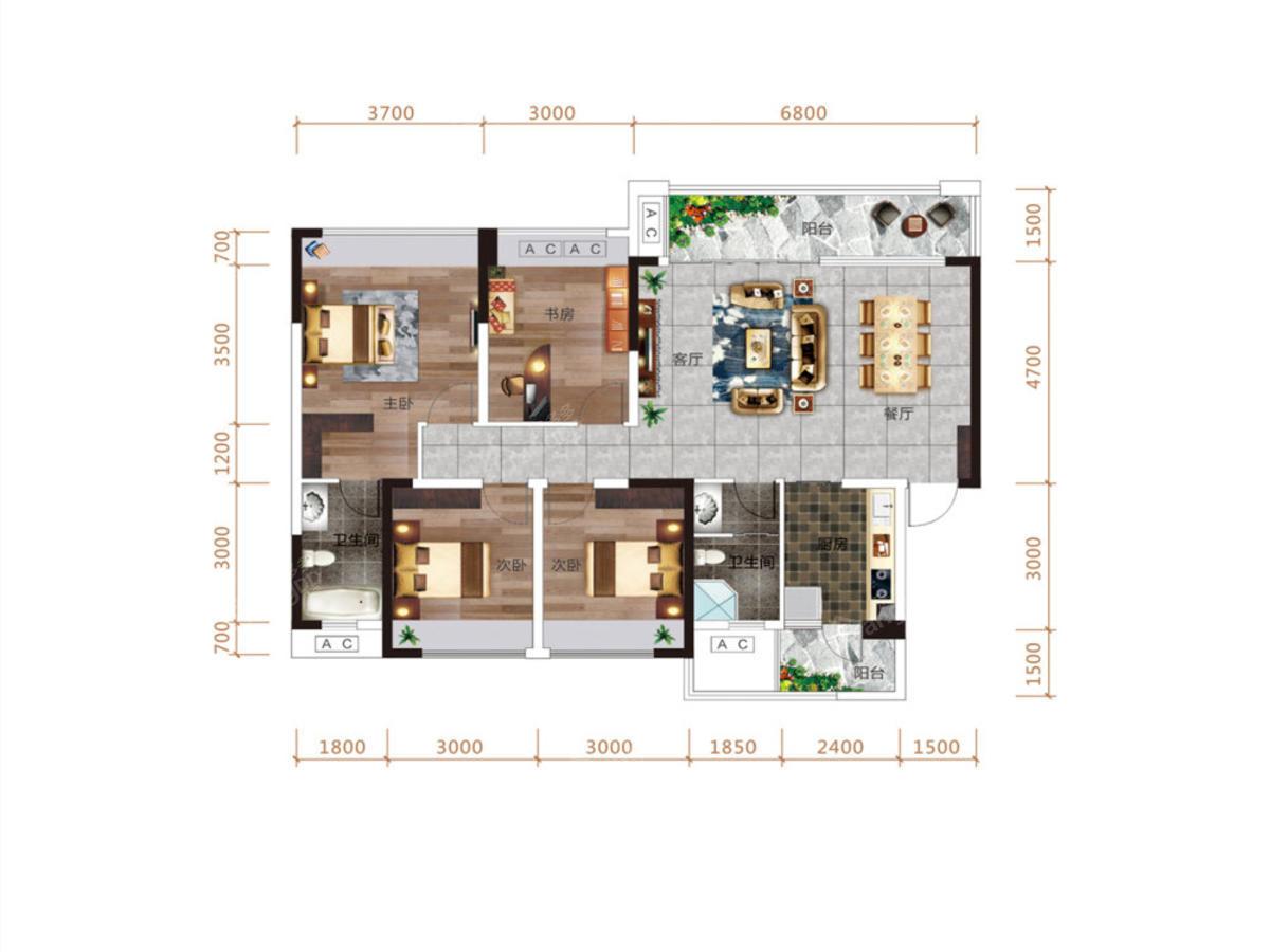 清鸥·教育天地4室2厅2卫户型图