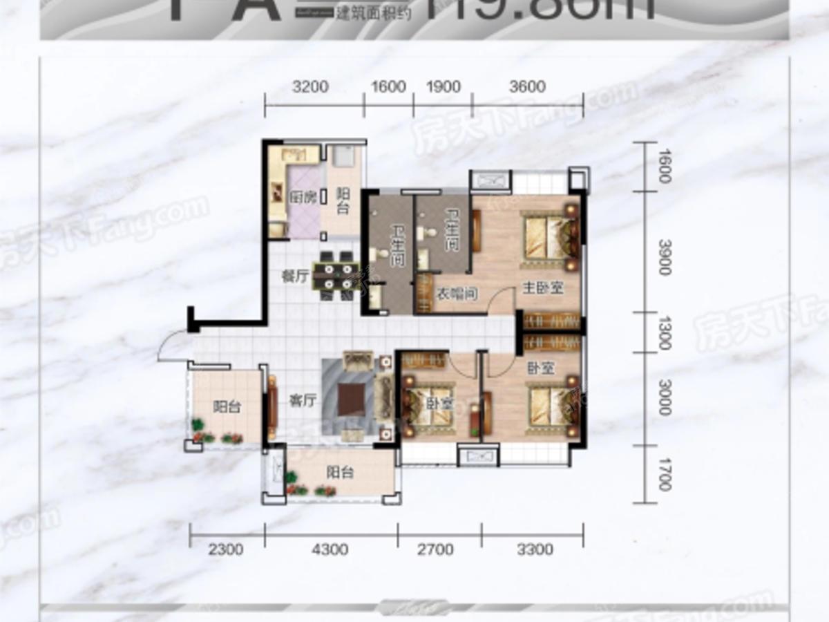 海慧春天国际社区3室1厅2卫户型图