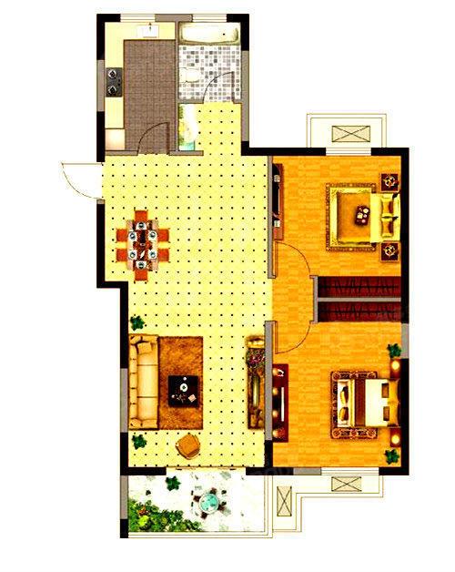 孔望尚府2室2厅1卫户型图
