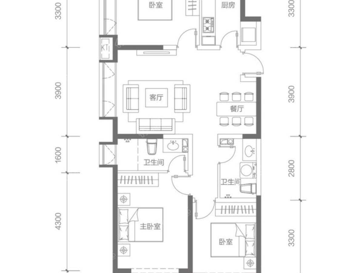 千渡·东山晴3室2厅2卫户型图